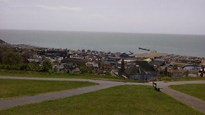 A view over Old Town and the fishing fleet in Hastings