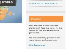 donate box on Crop Trust website